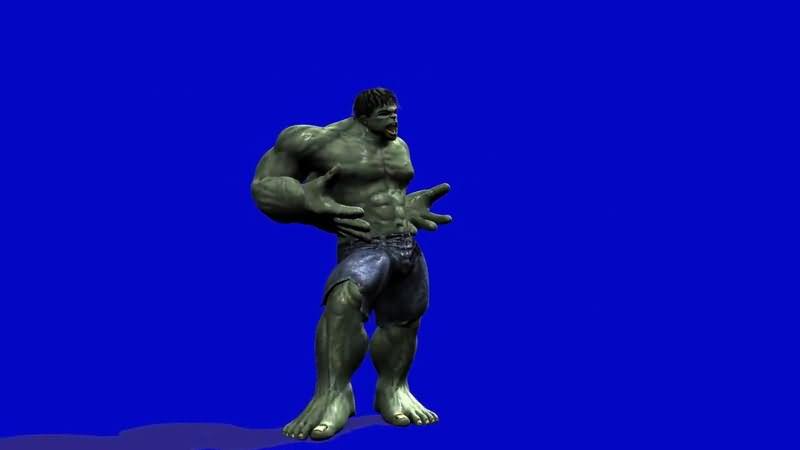 蓝屏抠像摆POSE的绿巨人洛克