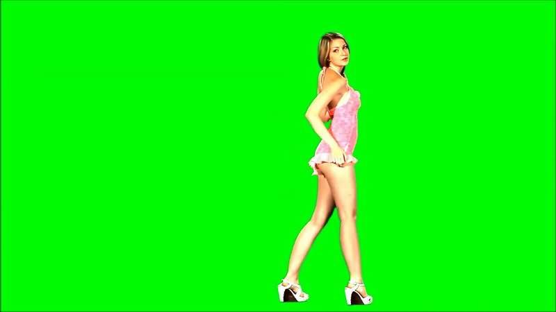 绿屏抠像粉色短裙跳舞的美女