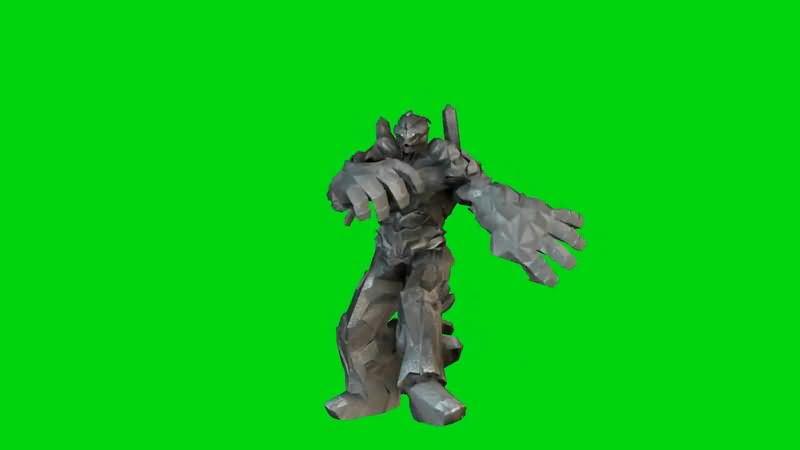绿屏抠像战斗的石头将军