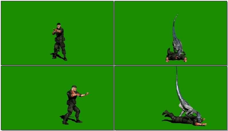 绿屏抠像被恐龙吃掉的军人狩猎人