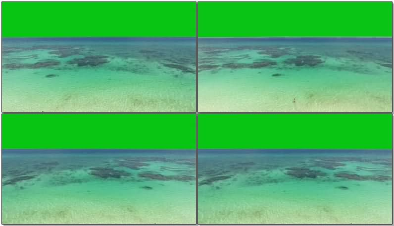 绿屏抠像蔚蓝的大海沙滩