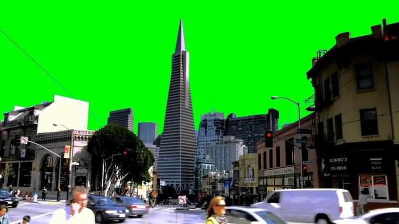 绿屏抠像车辆人群涌动的城市视频素材
