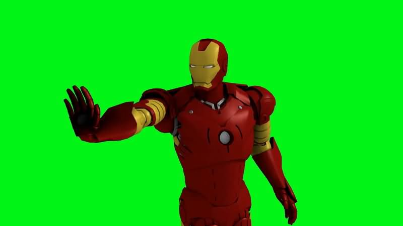 绿屏抠像钢铁侠进攻射击视频素材