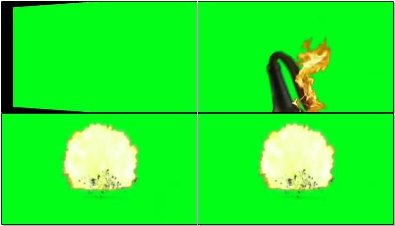 绿屏抠像投掷燃烧瓶爆炸视频素材