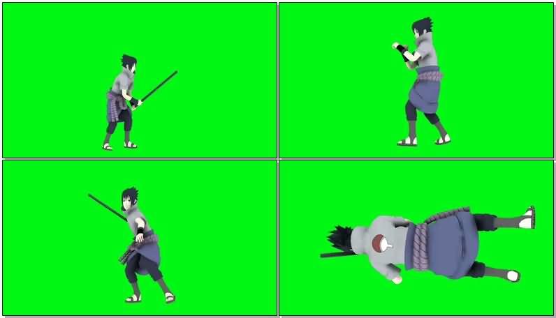 绿屏抠像战斗的佐助视频素材