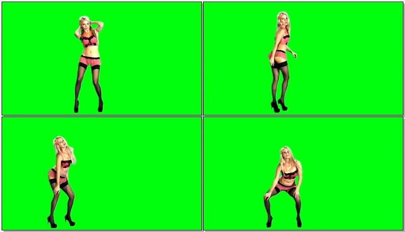 绿屏抠像黑丝比基尼跳舞的美女视频素材