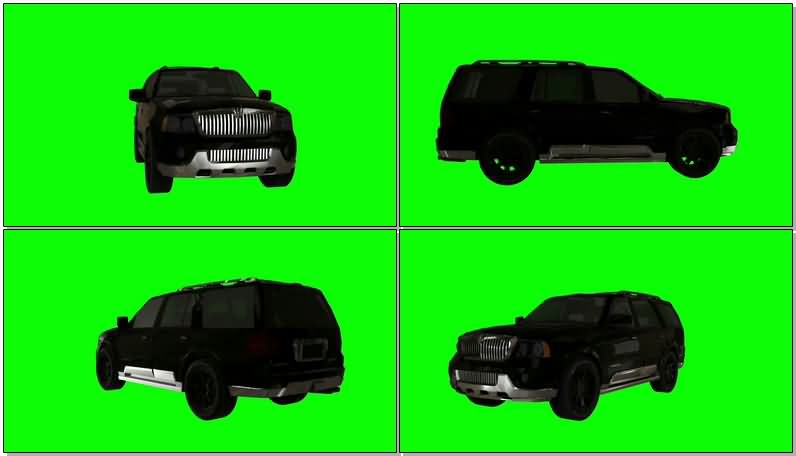 绿屏抠像黑色林肯汽车视频素材