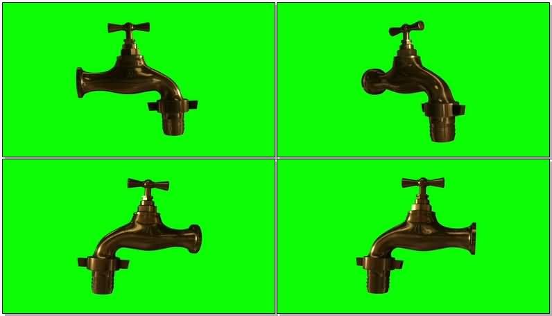 绿屏抠像金属水龙头视频素材