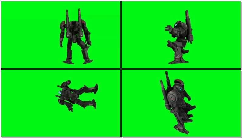 绿屏抠像探戈狼机甲机器人视频素材