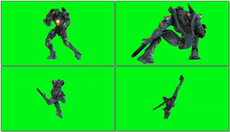 绿屏抠像吉普赛复仇者机甲机器人视频素材