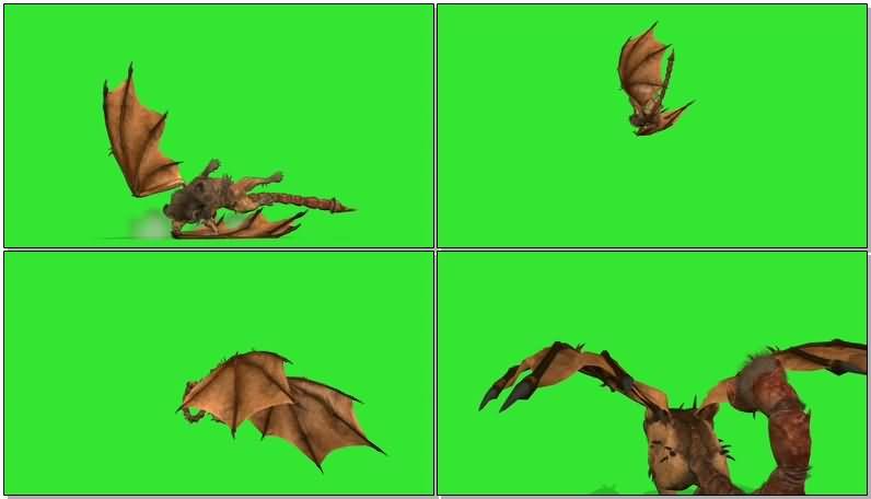 绿屏抠像狮身蝎尾带翅膀的怪兽视频素材