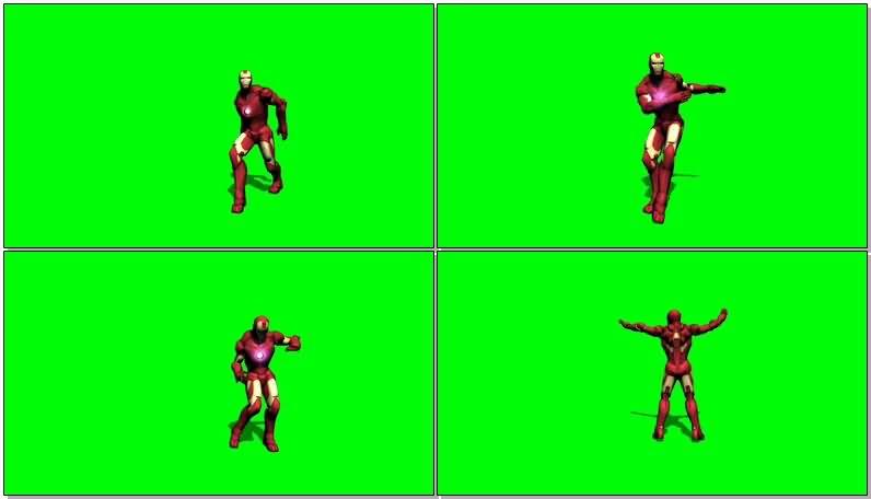 绿屏抠像跳舞的钢铁侠视频素材