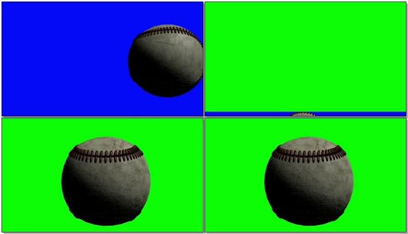 绿屏抠像旋转的棒球视频素材