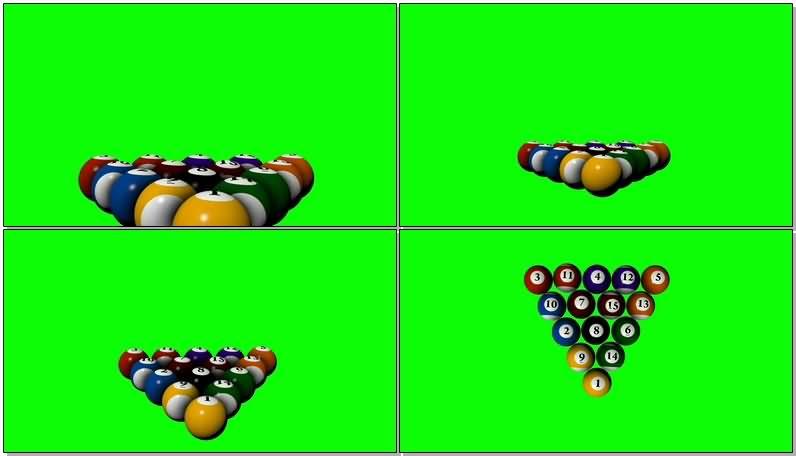 绿屏抠像花色台球视频素材