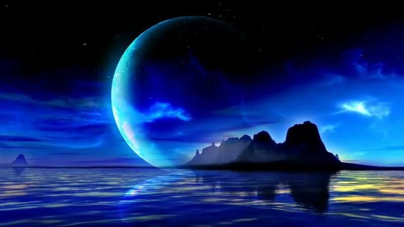 蓝色的湖水满月夜空视频素材