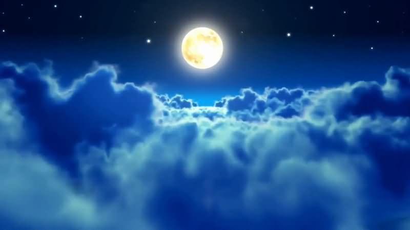 蓝色的夜空云层穿梭视频素材