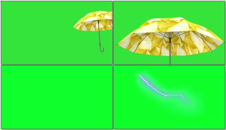 绿屏抠像大雨里的黄伞视频素材