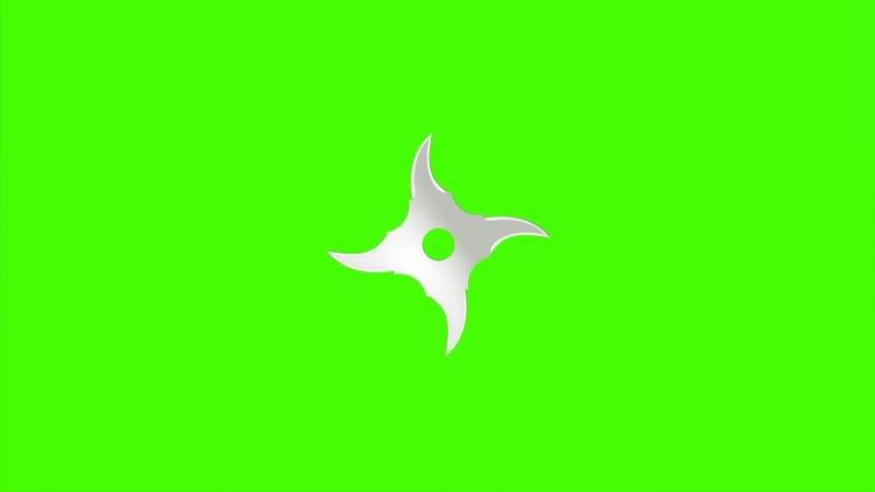 [4K]绿屏抠像旋转的忍者镖视频素材