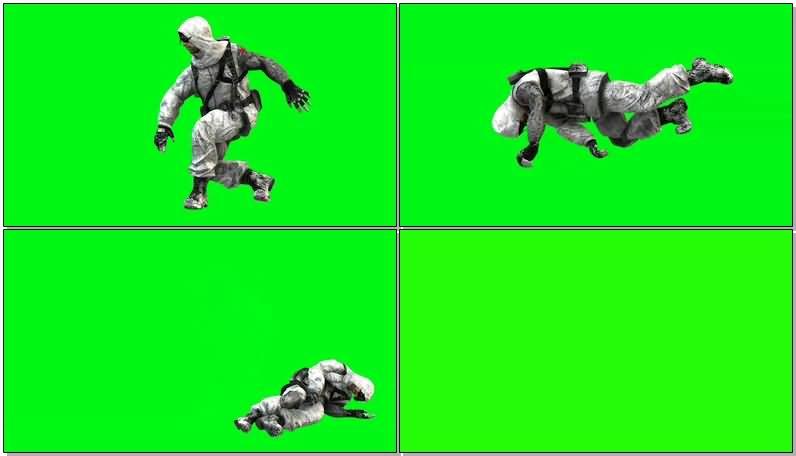 绿屏抠像穿滑雪迷彩服的战士视频素材
