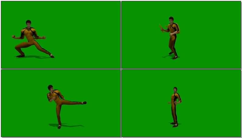 绿屏抠像玩双节棍的李小龙视频素材