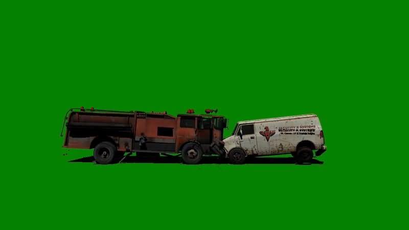 绿屏抠像两辆相撞的汽车视频素材