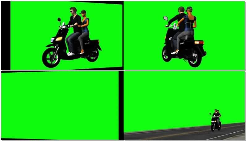 绿屏抠像骑摩托的情侣视频素材