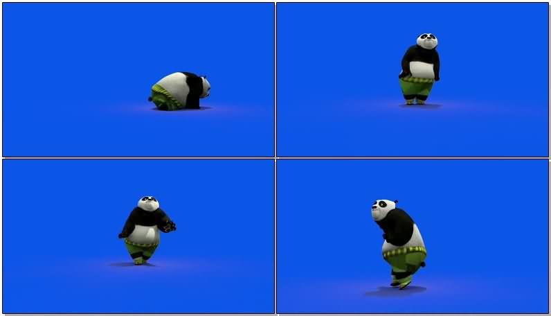 蓝屏抠像跳舞的功夫熊猫视频素材