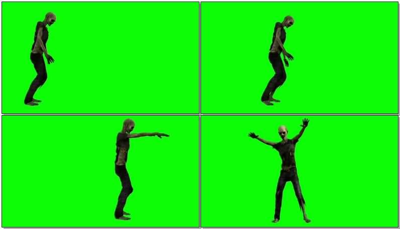 绿屏抠像行走的僵尸视频素材