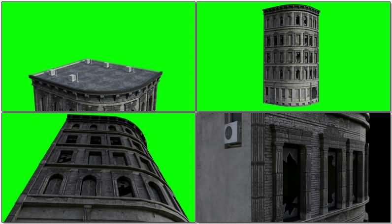 绿屏抠像废弃的图书馆视频素材
