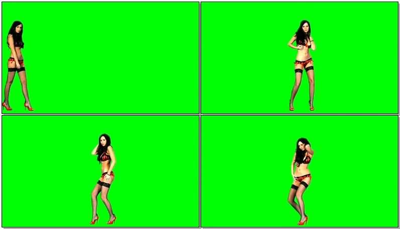 绿屏抠像红色比基尼美女黑丝袜跳舞视频素材