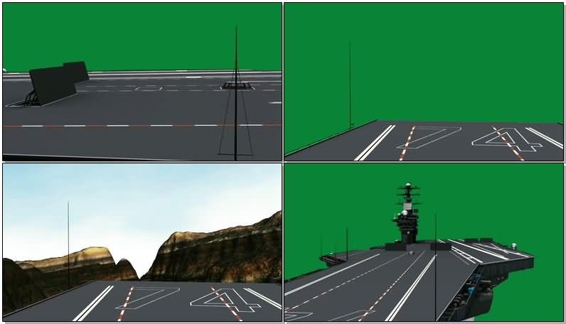 绿屏抠像航空母舰甲板视频素材