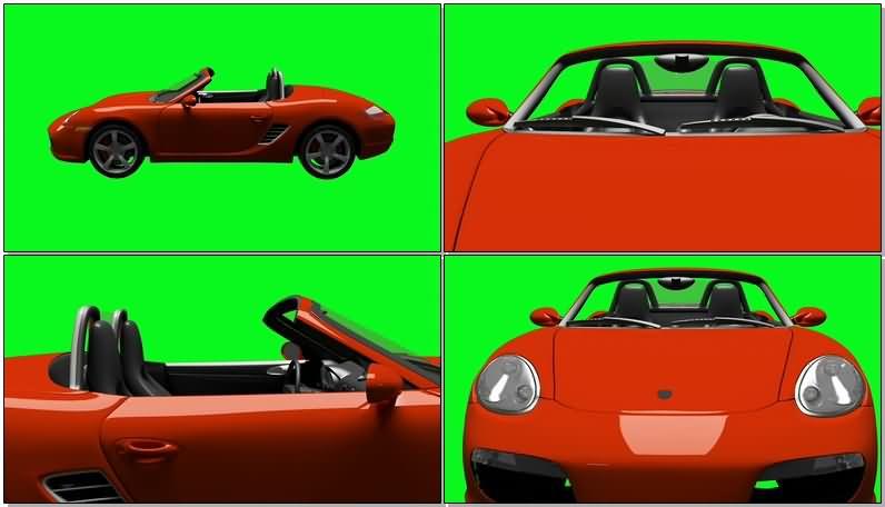 绿屏抠像红色的保时捷汽车视频素材