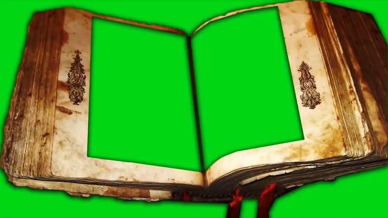 绿屏抠像破旧的古书视频素材