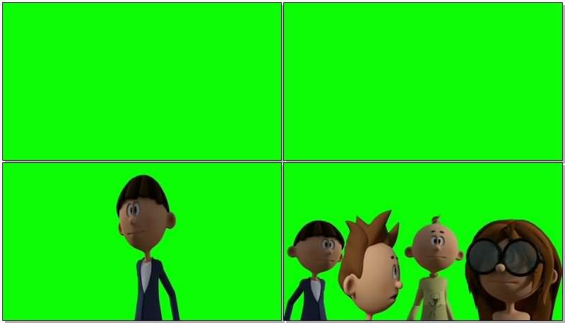 绿屏抠像说话的卡通人物视频素材
