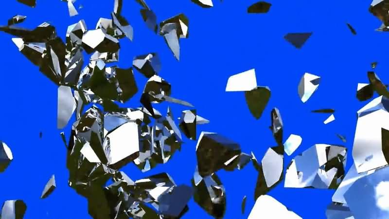 蓝屏抠像破碎的镜面玻璃视频素材