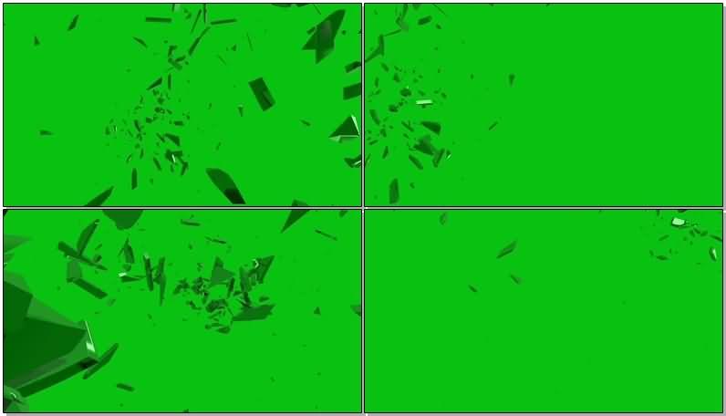 绿屏抠像各种玻璃破碎视频素材