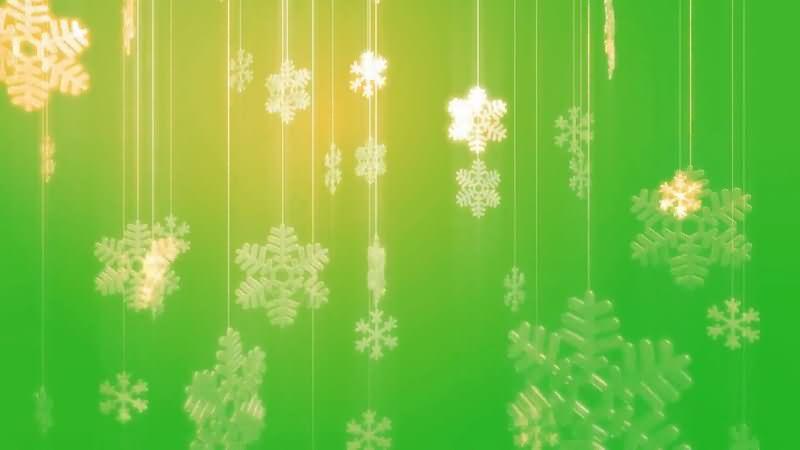 绿屏抠像闪光的雪花挂饰品视频素材