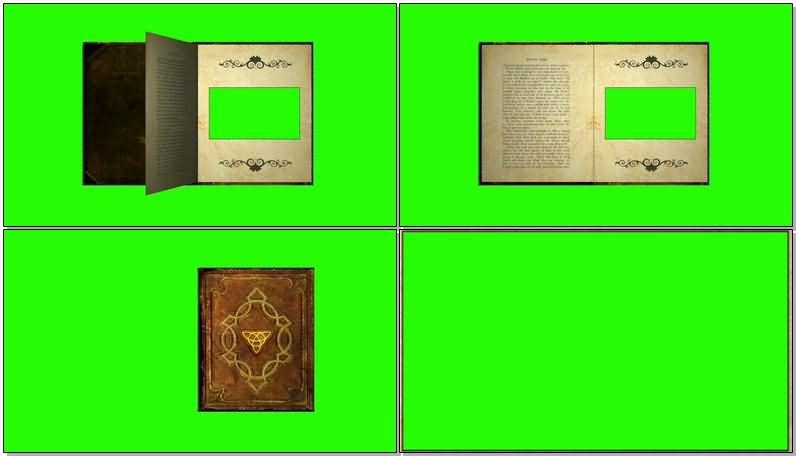 绿屏抠像翻页的魔法书视频素材
