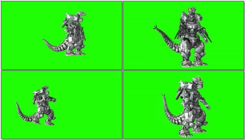 绿屏抠像机械哥斯拉怪兽视频素材