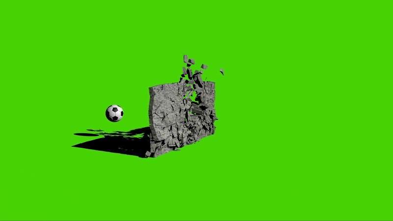 [4K]绿屏抠像足球撞碎墙壁视频素材