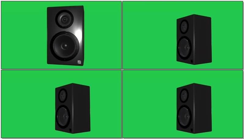 绿屏抠像黑色的音箱震动的鼓膜视频素材
