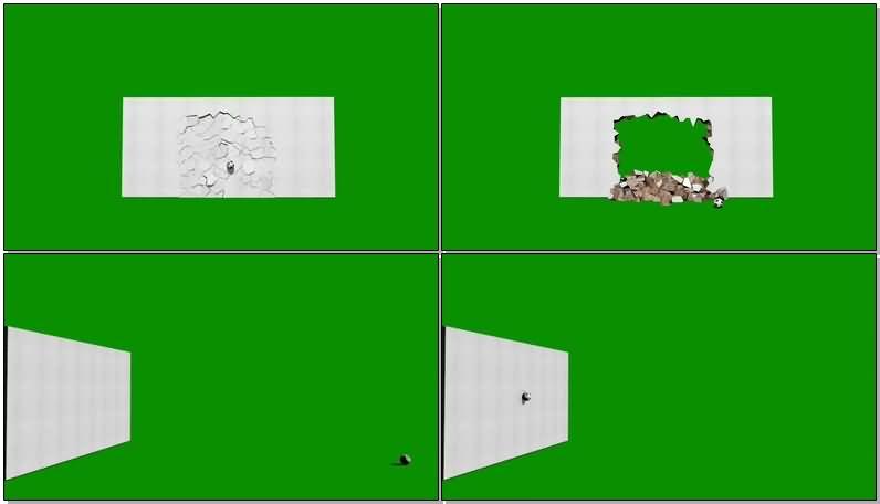 绿屏抠像被足球击碎的白色墙壁视频素材