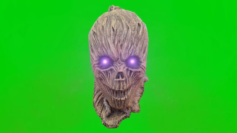 绿屏抠像眼睛闪光的骷髅怪物视频素材