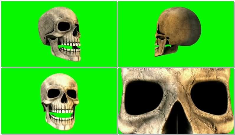 绿屏抠像说话的骷髅人骨视频素材