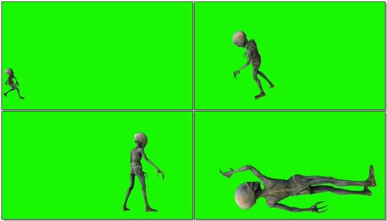 绿屏抠像外星生物外星人视频素材
