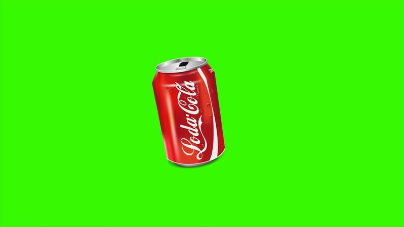 [4K]绿屏抠像可口可乐易拉罐视频素材