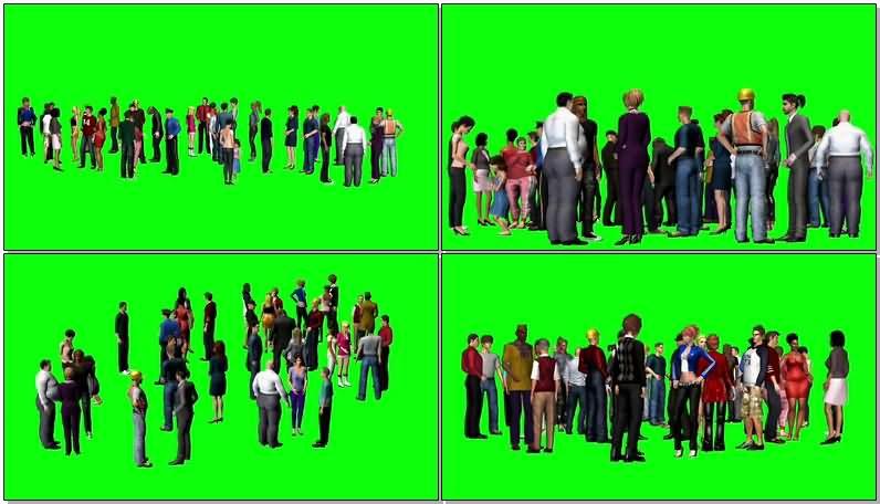 绿屏抠像交谈的人群视频素材