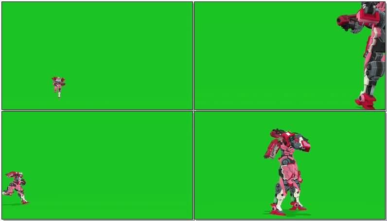 绿屏抠像粉红色女机器人视频素材