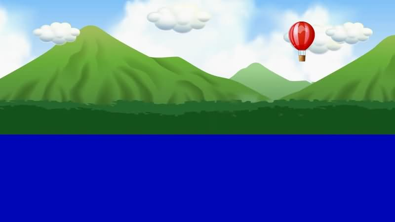蓝屏抠像卡通白云山川热气球视频素材