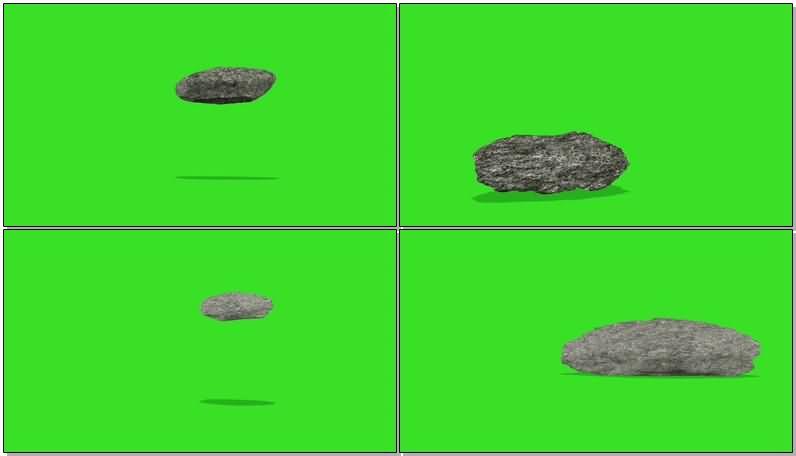 绿屏抠像掉落摔碎的石头石块视频素材